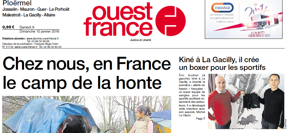 article de presse short Boxer Strap Bassin Ouest France